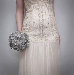 Bridal Bouquet - Silver Jeweled Brooch Bouquet