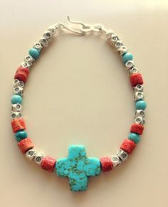 Turquoise Cross Bracelets Ruby Vintage Beads by MagicalUniverse