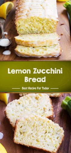Lemon Zucchini Bread - The ingredients and how to make it please visit the website. Best Dessert Recipes, Easy Desserts, Delicious Desserts, Snack Recipes, Fish Recipes, Bread Recipes, Yummy Recipes, Healthy Recipes, Lemon Zucchini Bread