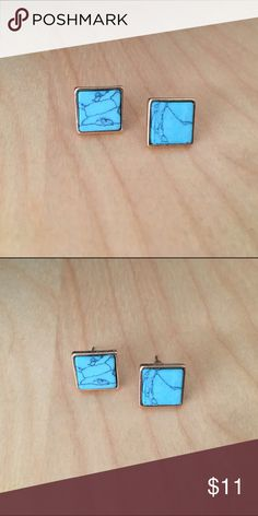 Natural Marble stud earrings. Boho style stud earrings. Natural Marble. Gorgeous turquoise color.Nwt retail. Jewelry Earrings