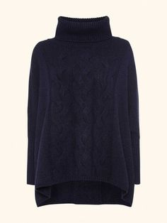 Sleeved Cable Poncho in Imperial Blue - N.PEAL Luxury Cashmere