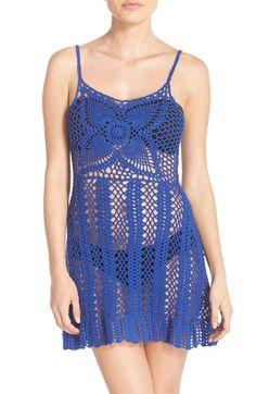 MINKPINK 'Colour Me' Crochet Dress Cover-Up An open-knit crochet dress with a…