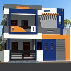 My color design 3 Storey House Design, Two Story House Design, Village House Design, Bungalow House Design, Unique House Design, House Front Wall Design, Single Floor House Design, House Outside Design, Modern Bungalow House