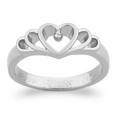 Sterling Silver Diamond Heart Engraved Promise Ring #elegant