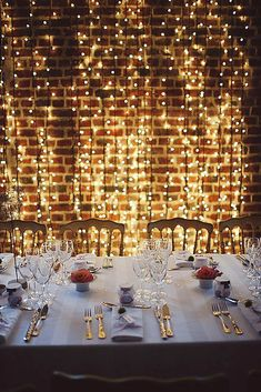 "If I ever had a ""formal"" dinner, and had a clean wall. If I ever had a ""formal"" dinner, and had a clean wall…that is completely a cool factor to do! 🙂 So elegant…and are available on, who doesn& like lights? Outdoor Dinner Parties, Formal Dinner, Elegant Dinner Party, Our Wedding, Dream Wedding, Light Wedding, Wedding Parties, Loft Wedding Reception, Courtyard Wedding"