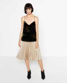 Image 1 of PRINTED VELVET CAMISOLE TOP from Zara