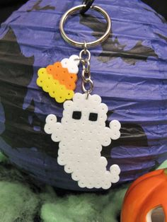 Small GHOST KEYCHAIN with Candy Corn // Spooky Creepy Cute HALLOWEEN Perler Beads Accessories by RainbowMoonShop on Etsy
