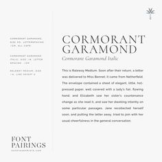 Webfont Font Pairings: Cormorant Garamond + Raleway | Davey & Krista Page Design, Web Design, Graphic Design, Resume Design, Vector Design, Garamond Font, Minimalist Font, Vintage Fonts, Graphics Vintage