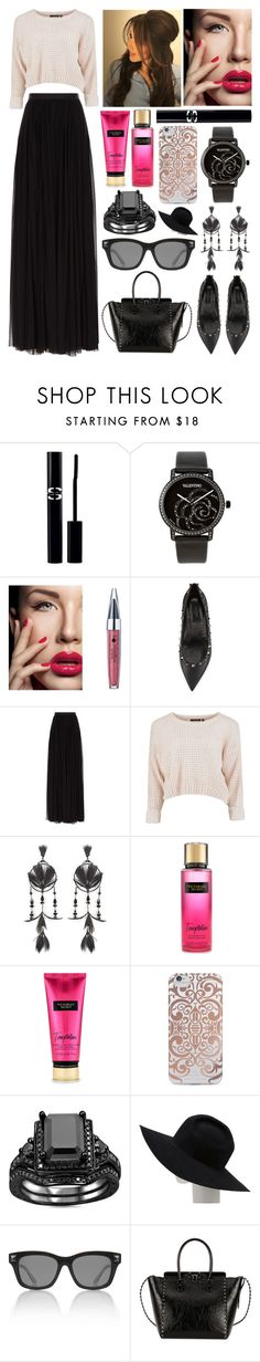 """Maxi Skirt Outfit"" by jessicagrewal ❤ liked on Polyvore featuring Sisley, Valentino, Needle & Thread, Nanette Lepore and Gladys Tamez Millinery"
