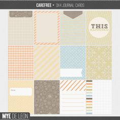Carefree | Journal Cards $4.00  Carefree Journal Cards for all your Project Life needs. This set has subdued colors and versatile enough to ...