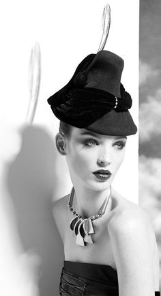 Hat that looks like a traditional Bavarian hat, given the couture treatment. #millinery #judithm #hats I do like this interpretation.