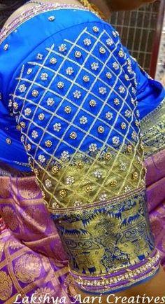 Lakshya Aari Creatives Elbow Length Sleeve~~Checks with stone and bead work~~ Contact / whatsapp Happiness in Handmade😍 Saree Kuchu Designs, Fancy Blouse Designs, Mirror Work Blouse, Aari Work Blouse, Maggam Work Designs, Aari Embroidery, Maggam Works, Hand Designs, Sarees
