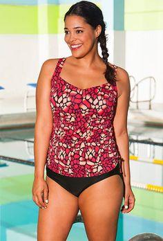 251007e17c3b8 Chlorine Resistant! Aquabelle Mojave Plus Size Side Shirred Tankini Plus  Size Womens Clothing
