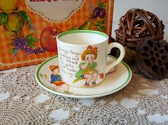 RARE, Vintage Midwinter English Georgie Porgie Transfer Tea Cup and Saucer by Peggy Gibbons, Nursery Rhyme by on Etsy Childrens Cup, Retro Vintage, Vintage Items, Nursery Rhymes, Victorian Era, Cup And Saucer, Tea Cups, Recycling, English