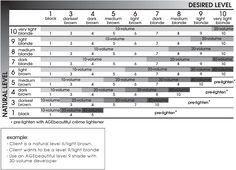 Hair Color: Natural Level & Desired Level Formulation Chart