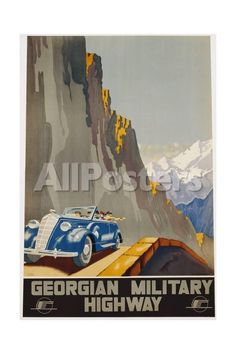 Georgian Military Highway Poster Landscapes Giclee Print - 41 x 61 cm