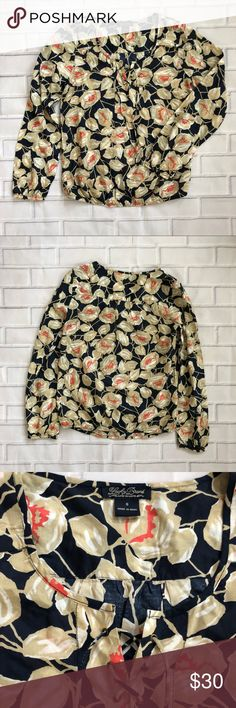 {Lucky Brand} Floral Blouse Floral patterned blouse from Lucky Brand in size S  🌿Excellent used condition 🌿Cinched sleeves and waistband  Be sure to check my closet for more Lucky and other great brands! Lucky Brand Tops Blouses