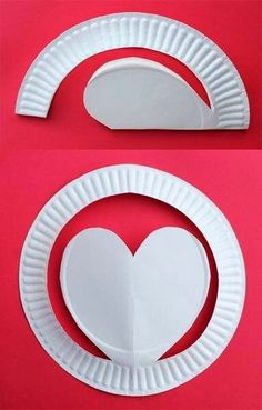 paper plate heart. decorate with pink, red, purple tissue paper that the kids rip up. only time they're allowed to use too much glue!