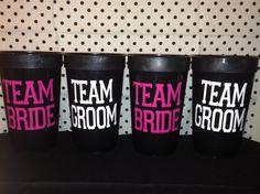 Team Bride / Team Groom Bridal Party Wedding Cups on Etsy, $6.00