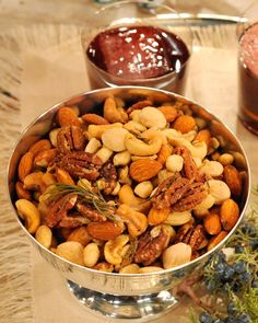 Brown-Butter Nut Mix with Rosemary and Thyme - Martha Stewart Recipes compliments of Thomas Joseph....unbelievably delicious!