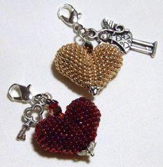 Beaded puffy heart