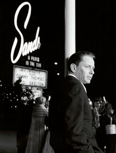 Frank Sinatra outside the Sands in Las Vegas.
