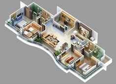 แปลนบ้านชั้นเดียว 4 ห้องนอน