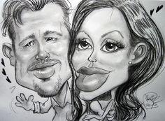 Caricatura soft realizzata a matita di Brad Pitt e Angelina Jolie. Muriel Perondi© www.muriel-caricature.weebly.com