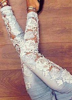 Light Blue Womens Denim Crochet Lace Skinny Legs Stretch Pencil Jeans
