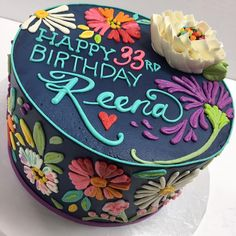 Girly floral cake design (25th birthday cake)