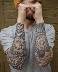 Mandala tattoos have taken the world by storm. What is their symbolism? Read our article to find out the real meaning and beauty of a mandala tattoo. Mandala Elephant Tattoo, Mandala Tattoo Sleeve, Mandala Flower Tattoos, Mandala Tattoo Design, Tattoo Sleeve Designs, Sleeve Tattoos, Men Flower Tattoo, Elephant Tattoos, Wrist Tattoo Cover Up