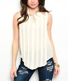 Look what I found on #zulily! White Pleated Cutout Tank #zulilyfinds