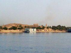 A Nile cruiser docked at the Temple of Kom Ombo, #Aswan, #Egypt, #AncientCivilizationsAdventure, May 2014