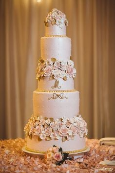 A dazzling five-tiered wedding cake - look at those details! {Too Much Awesomeness}