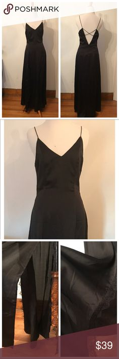 Evening maxi dress by Cotton Candy LA - size Small Sexy evening dress, with slits and lace details. - size Small. Black color. 100% polyester cotton candy Dresses Maxi