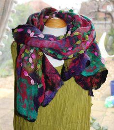 Nuno felted scarf wrap shawl - red jade green purple pink - lagenlook - Fiber Art to Wear OOAK artsy by Angelab5705,