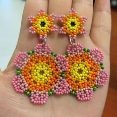 Items similar to Chaquira Earrings Flower Earrings huicholes Mexican Earrings Flower Earrings Huichol Earrings Beaded Earrings on Etsy Seed Bead Earrings, Flower Earrings, Beaded Earrings, Seed Beads, Beaded Jewelry, Crochet Earrings, Beaded Bags, Beaded Flowers, Designer Earrings
