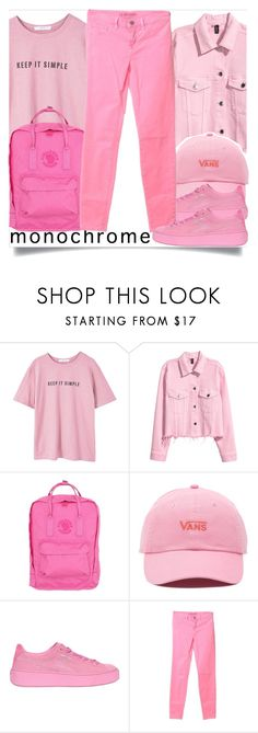"""school wear"" by madeinmalaysia ❤ liked on Polyvore featuring MANGO, H&M, Fjällräven, Vans, Puma, J Brand, monochrome and Pink"