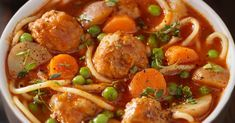 A fork and a spoon are needed to enjoy this rich and delicious soup! Meatball Recipes, Crockpot Recipes, Soup Recipes, Dinner Recipes, Cooking Recipes, Italian Meatball Soup, Italian Meatballs, Beef Casserole, Kitchens