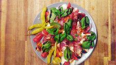 Tomato mozzarella salad with onions and peperoni