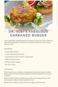 Dr Sebi Fabulous Garbanzo Burger - All For Health Alkaline Foods Dr Sebi, Alkaline Diet Recipes, Raw Food Recipes, Vegetarian Recipes, Cooking Recipes, Healthy Recipes, Cooking Bacon, Whole30 Recipes, Vegan Foods