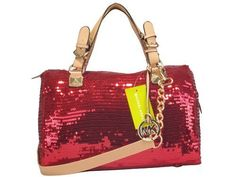 Michael Kors Grayson Glitter Satchel Red