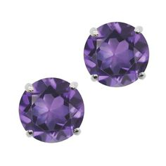 0.50 Ct Round 4mm Purple Amethyst 14K White Gold Stud Earrings *** Read more reviews of the product by visiting the link on the image.