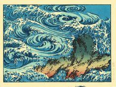 "Japanese Ukiyo-e Woodblock print, Katsushika Hokusai, ""Whirlpools at Awa no Naruto"" Art And Illustration, Woodblock Print, Art Occidental, Japanese Woodcut, Art Asiatique, Katsushika Hokusai, Kunst Poster, Art Japonais, Art Sculpture"