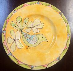 ceramic hand painted bird plate | oldpondpottery