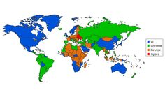 Chrome is the green. Internet Explorer is blue. Any red or green you see in the map would be Opera and Safari. Browser Wars, Web Browser, Machine Learning Methods, Light Pollution, Internet Explorer, What The World, You Never Know, Imagines, Historical Maps