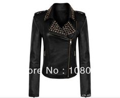 Free Shipping Women Punk Strong Spike Studded Shoulder Synthetic RIVET Cropped Jacket Lady Black Motorcycle Coat Size S-3XL(China (Mainland))