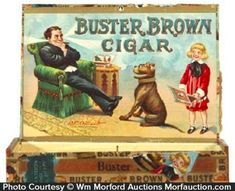 Scarce, early wooden cigar box, featuring great color graphic images of Outcault's Buster Brown and Tigre on inside, outer side and top lid. Sold at: Wm Morford Antiques Looking to Buy or Sell? Wooden Cigar Boxes, Cigar Art, Antique Signs, Price Guide, Tour Eiffel, Comic Character, Cigars, Comic Strips, Vintage Toys