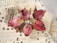 New Burgundy Rose Bud Dried Look Flowers Dolls Weddings Millinery Crafts 5 stems #driedlookrosebuds #burgundyfabricrosebuds