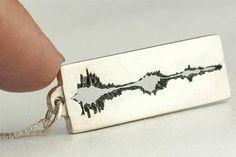 "Sound Wave Necklace, Personalized in Sterling Silver - Sound wave & audio file of you saying ""I love You"""